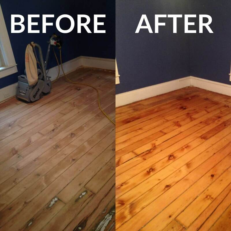 Before and after Hardwood Floor Refinishing Holand MI